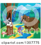 Clipart Of A Raccoon Peeking Out Through A Tree Hollow Woodpecker Leaping Fish And Bear At A Forest Sream Royalty Free Vector Illustration