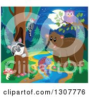Clipart Of A Raccoon Peeking Out Through A Tree Hollow Woodpecker Owl Leaping Fish And Bear At A Forest Stream At Night Royalty Free Vector Illustration