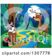 Clipart Of A Raccoon Peeking Out Through A Tree Hollow Woodpecker Hedgehog Bluebird And Deer At A Forest Stream At Night Royalty Free Vector Illustration by visekart