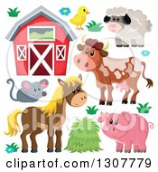 Cute Barn Chick Sheep Cow Mouse Horse And Pig