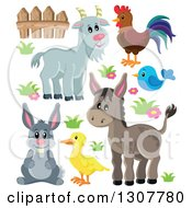 Cute Gray Goat Rooster Blue Bird Donkey Duck And Rabbit