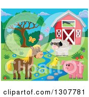 Red Barn With A Horse Pig Chick Sheep And Butterflies By A Creek