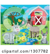 Clipart Of A Red Barn With Spring Butterflies A Goat Duck Donkey And Rabbit By A Stream Royalty Free Vector Illustration by visekart