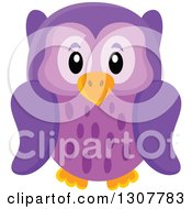 Clipart Of A Cute Purple Owl Royalty Free Vector Illustration by visekart