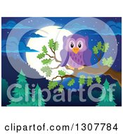 Purple Owl Perched On A Branch Over A Forest Hills And Full Moon At Night