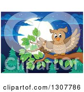 Clipart Of A Landing Owl On A Branch Over A Forest Hills And Full Moon At Night Royalty Free Vector Illustration by visekart