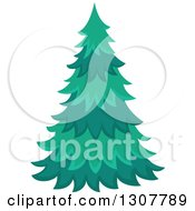 Clipart Of A Lush Evergreen Tree Royalty Free Vector Illustration by visekart