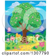 Clipart Of A Lush Tree With Pink Spring Blossoms By A Path With A Mushroom Butterflies And Flowers Royalty Free Vector Illustration by visekart