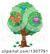 Clipart Of A Cute Forest Squirrel Owl And Blue Bird In A Tree Royalty Free Vector Illustration by visekart