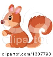 Clipart Of A Cute Forest Squirrel Facing Left Royalty Free Vector Illustration