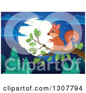 Clipart Of A Cute Forest Squirrel On A Tree Branch Over A Forest At Night Royalty Free Vector Illustration by visekart