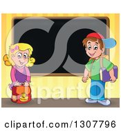 Clipart Of A Caucasian School Girl And Boy By A Blank Blackboard Over Yellow Stripes Royalty Free Vector Illustration