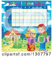 Clipart Of A Caucasian School Girl And Boy By A School Building Under A Time Table Royalty Free Vector Illustration by visekart
