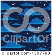 Clipart Of A Seamless Night Sky With Sparkling Stars And Clouds Royalty Free Vector Illustration