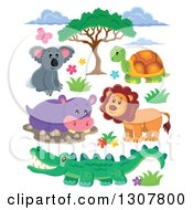 Clipart Of A Cute Wild African Koala Tortoise Lion Hippo And Crocodile With Foliage Royalty Free Vector Illustration by visekart