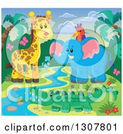 Clipart Of A Wild African Parrot Elephant Giraffe And Crocodile At A Stream Against A Sunset Royalty Free Vector Illustration by visekart