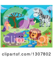 Clipart Of A Wild African Male Lion Hippo Rhino Zebra And Parrot By A Stream During The Day Royalty Free Vector Illustration by visekart