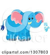 Clipart Of A Cute Wild African Blue Elephant Spraying Water Royalty Free Vector Illustration