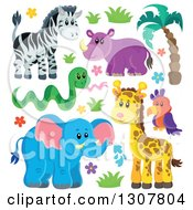 Clipart Of A Cute Wild African Zebra Hippo Snake Parrot Giraffe And Elephant With Plants Royalty Free Vector Illustration by visekart