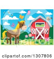 Clipart Of A Red Barn With A Horse Bees And Butterflies Royalty Free Vector Illustration by visekart