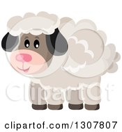 Clipart Of A Cute Fluffy Sheep Royalty Free Vector Illustration