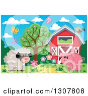 Red Barn With Spring Butterflies A Sheep And Pig