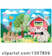 Clipart Of A Red Barn With Spring Butterflies A Rooster And Sheep Royalty Free Vector Illustration by visekart