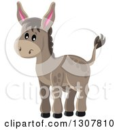 Clipart Of A Cute Brown Donkey Royalty Free Vector Illustration