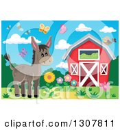 Clipart Of A Red Barn With Spring Bees Butterflies And A Donkey Royalty Free Vector Illustration by visekart