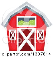 Clipart Of A Red Barn With A Hay Loft Royalty Free Vector Illustration