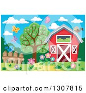 Clipart Of A Red Barn With A Hay Loft Butterflies And Spring Flowers Royalty Free Vector Illustration