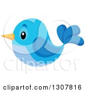 Clipart Of A Cute Blue Bird Royalty Free Vector Illustration by visekart