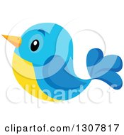 Clipart Of A Cute Yellow And Blue Bird Royalty Free Vector Illustration by visekart