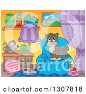 Clipart Of A Brown Cat Sitting On A Chair In A Living Room Royalty Free Vector Illustration