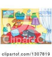 Clipart Of Cats Playing And Napping On A Sofa In A Living Room Royalty Free Vector Illustration