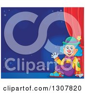 Clipart Of A Clown Sitting And Waving Against A Blue Background On A Stage Royalty Free Vector Illustration