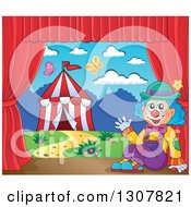 Clipart Of A Clown Sitting And Waving Against A Big Top Circus Tent On A Stage Royalty Free Vector Illustration by visekart