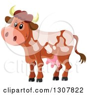 Clipart Of A Cute Spotted Dairy Cow Royalty Free Vector Illustration