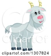 Clipart Of A Cute Gray Goat Farm Animal Royalty Free Vector Illustration