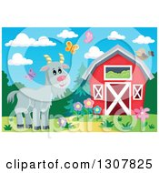 Clipart Of A Red Barn With Spring Butterflies And A Goat Royalty Free Vector Illustration by visekart