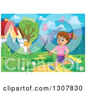 Clipart Of A Cartoon Happy Brunette White Girl Chasing Butterflies With A Net In A Park On A Spring Day Royalty Free Vector Illustration by visekart
