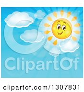 Clipart Of A Cartoon Smiling Sun With Puffy Clouds And Sun Rays In A Blue Day Sky Royalty Free Vector Illustration