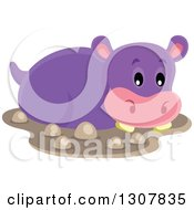 Clipart Of A Cute Purple African Hippopotamus In Mud Royalty Free Vector Illustration