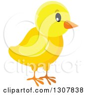 Clipart Of A Cute Yellow Chick Royalty Free Vector Illustration