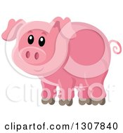 Clipart Of A Cute Pink Piggy Royalty Free Vector Illustration