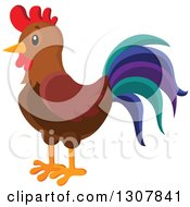 Clipart Of A Cute Rooster With A Colorful Tail Royalty Free Vector Illustration
