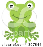 Clipart Of A Happy Smiling Green Frog Royalty Free Vector Illustration