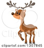 Clipart Of A Cute Happy Deer Walking Royalty Free Vector Illustration by visekart