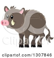 Clipart Of A Cute Happy Razorback Boar Royalty Free Vector Illustration