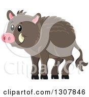 Cute Happy Razorback Boar